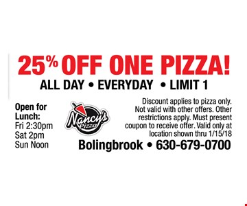25% off one pizza