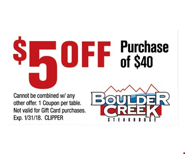 $5 OFF any purchase of $40