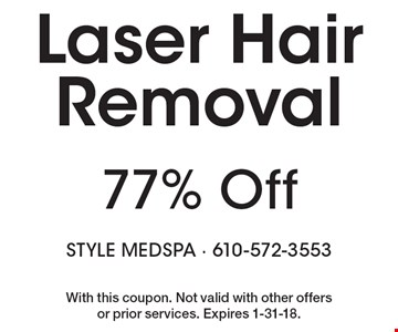 77% Off Laser Hair Removal . With this coupon. Not valid with other offers or prior services. Expires 1-31-18.