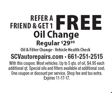 Refer A Friend & Get 1 Free Oil Change Regular $29.99Oil & Filter Change - Vehicle Health Check. With this coupon. Most vehicles. Up to 5 qts. of oil, $4.95 each additional qt. Special oils and filters available at additional cost. One coupon or discount per service. Shop fee and tax extra. Expires 11-17-17.