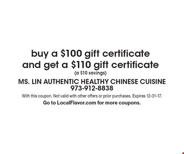 Free $120 gift certificate with the purchase a $100 gift certificate ($20 savings!) cash only. With this coupon. Not valid with other offers or prior purchases. Expires 12-31-17. Go to LocalFlavor.com for more coupons.