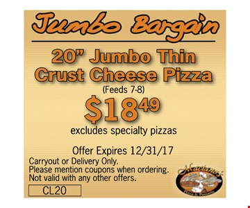 "20"" Jumbo Thin Crust Cheese Pizza for $18.49"