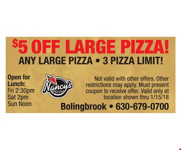 $5 of large pizza
