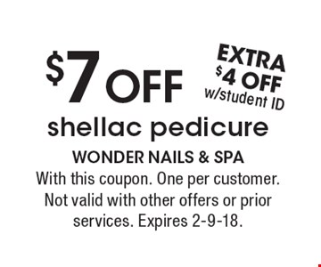$7 OFF shellac pedicure. With this coupon. One per customer. Not valid with other offers or prior services. Expires 2-9-18.