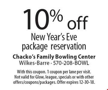 10% off New Year's Eve package reservation. With this coupon. 1 coupon per lane per visit. Not valid for Glow, league, specials or with other offers/coupons/packages. Offer expires 12-30-18.
