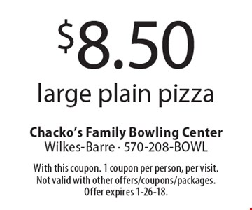 $8.50 large plain pizza. With this coupon. 1 coupon per person, per visit. Not valid with other offers/coupons/packages. Offer expires 1-26-18.