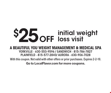 $25 Off initial weight loss visit. With this coupon. Not valid with other offers or prior purchases. Expires 2-2-18.Go to LocalFlavor.com for more coupons.