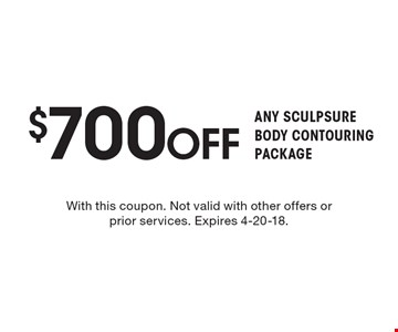 $500 off SCULPSURE FAT REDUCTION. With this coupon. Not valid with other offers or prior services. Expires 4-20-18.
