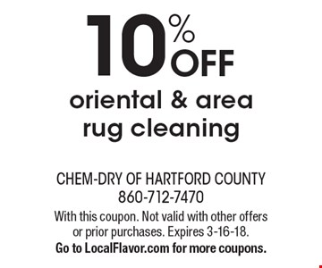 10% off oriental & area rug cleaning. With this coupon. Not valid with other offers or prior purchases. Expires 3-16-18. Go to LocalFlavor.com for more coupons.