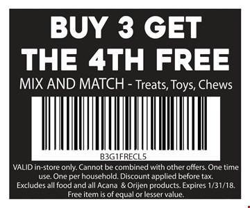 Buy 3 get the 4th Free mix and match - treats, toys & chews