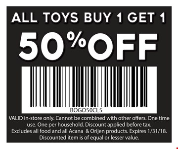 All toys buy 1, get 1 50% Off