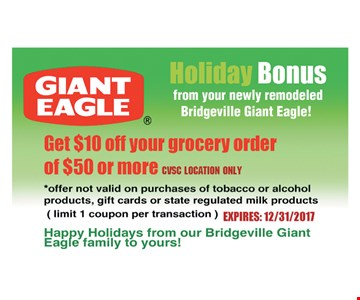 Get $10 Off Your Grocery Eagle Order of $50 or more