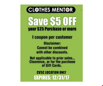 Clothes Mentor Save $5 Off your $25 purchase or more