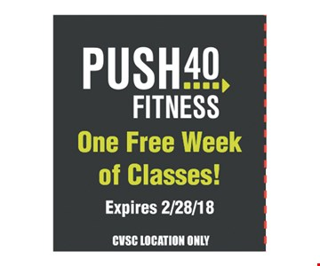 Push 40 Fitness One free Week of Classes