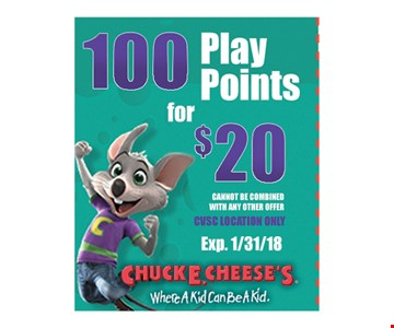 Chuck E Cheese's 100 Play Points for $20