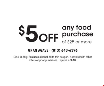$5 off any food purchase of $25 or more. Dine-in only. Excludes alcohol. With this coupon. Not valid with other offers or prior purchases. Expires 2-9-18.