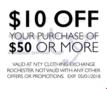 $10 OFF Your purchase of $50 Or more