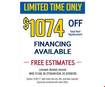 $1,074 Off Total Roof Replacement