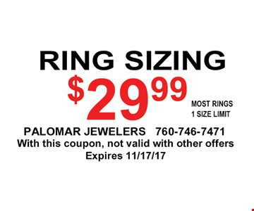 $29.99 ring sizing