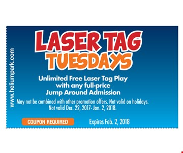 unlimited free laser tag play with any full price jump around admission