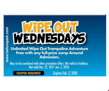 unlimited wipe out trampoline adventure. Free with any full price jump around admissionThrowb