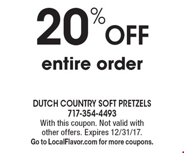 20% OFF entire order. With this coupon. Not valid with other offers. Expires 12/31/17. Go to LocalFlavor.com for more coupons.