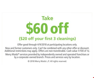 $60 off ($20 off your first 3 cleanings)