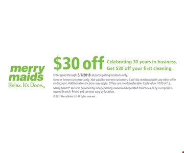 $30 Off Your First Cleaning