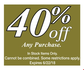 40% off any purchase.