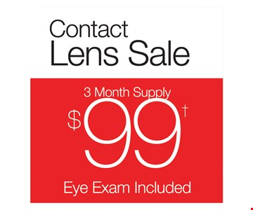 Contact Lens Sale - 3 Month Supply $99 (Eye Exam Included). Contacts are encore by CooperVision. Fitting and dilation, if needed, additional.