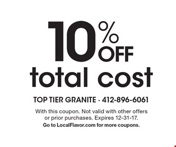 10% off total cost. With this coupon. Not valid with other offers or prior purchases. Expires 12-31-17. Go to LocalFlavor.com for more coupons.