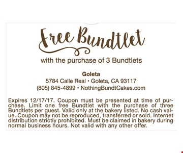 Free Bundtlet with the purchase of an 8