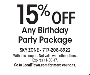 15% off Any Birthday Party Package. With this coupon. Not valid with other offers. Expires 11-30-17.Go to LocalFlavor.com for more coupons.