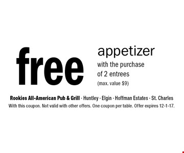 Free appetizer with the purchase of 2 entrees (max. value $9). With this coupon. Not valid with other offers. One coupon per table. Offer expires 12-1-17.