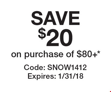 SAVE $20 on purchase of $80+*. Code: SNOW1412 Expires: 1/31/18 *Cannot be combined with any other offer. Restrictions may apply. See store for details. Edible®, Edible Arrangements®, and the Fruit Basket Logo are registered Trademarks of Edible IP, LLC. © 2017 Edible IP, LLC. All Rights Reserved.