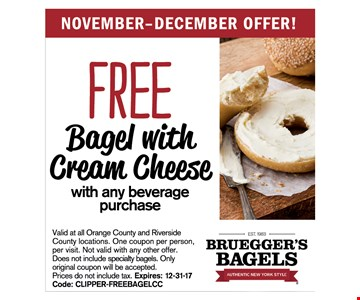 Free Bagel With Cream Cheese