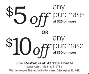 $5 off any purchase of $25 or more. $10 off any purchase of $50 or more. With this coupon. Not valid with other offers. Offer expires 12-8-17.