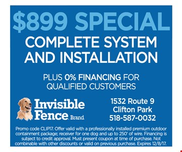 $899 special. complete system and installation