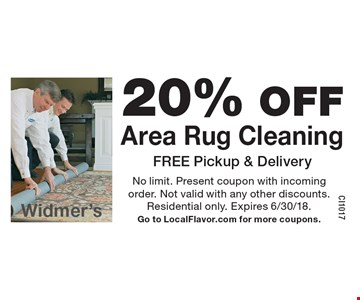 20% OFF Area Rug Cleaning FREE Pickup & Delivery. No limit. Present coupon with incoming order. Not valid with any other discounts. Residential only. Expires 6/30/18.Go to LocalFlavor.com for more coupons.