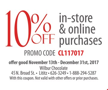 10% Off In-Store  & online purchases