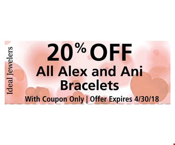 20% off all alex and ani bracelets
