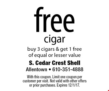 free cigar. Buy 3 cigars & get 1 free of equal or lesser value. With this coupon. Limit one coupon per customer per visit. Not valid with other offers or prior purchases. Expires 12/1/17.