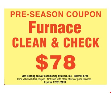 $78 furnace clean & check