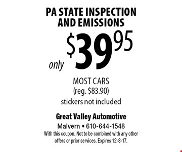 only $39.95 PA State Inspection And Emissions Most Cars (reg. $83.90) stickers not included. With this coupon. Not to be combined with any other offers or prior services. Expires 12-8-17.
