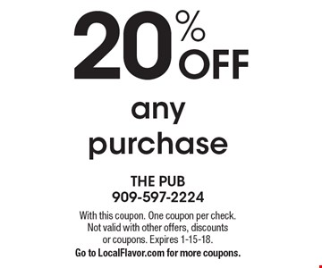 20% OFF any purchase . With this coupon. One coupon per check. Not valid with other offers, discounts or coupons. Expires 1-15-18.Go to LocalFlavor.com for more coupons.
