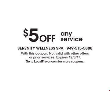 $5 Off any service. With this coupon. Not valid with other offers or prior services. Expires 12/8/17. Go to LocalFlavor.com for more coupons.