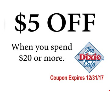 $5 off when you spend $20 or more