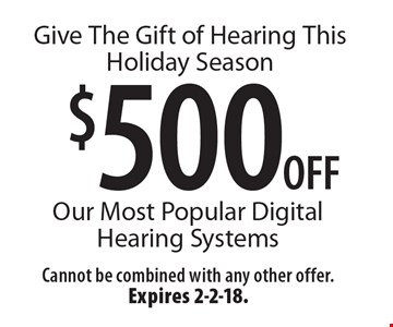 Give The Gift of Hearing This Holiday Season. $500 OFF Our Most Popular Digital Hearing Systems. Cannot be combined with any other offer. Expires 2-2-18.