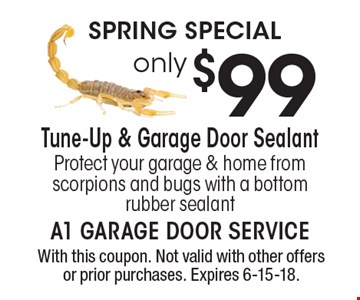 Spring Special only $99 Tune-Up & Garage Door Sealant. Protect your garage & home from scorpions and bugs with a bottom rubber sealant. With this coupon. Not valid with other offers or prior purchases. Expires 6-15-18.