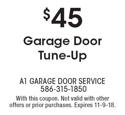 A1 Garage Door Service: $45 Garage Door Tune Up. With This Coupon.